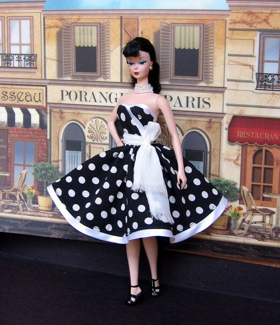 Nice silkstone black white polka dots cocktail dress with fringed sash Barbie KleiderschrankBarbie outfitsBarbie