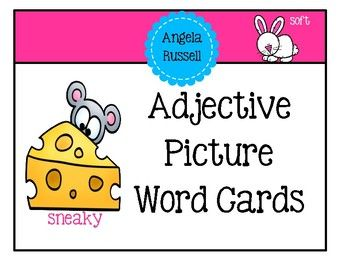 This unit provides you with 36 colorful picture word cards for adjectives. Place the cards in your writing center for your student's to create stories, write sentences, draw pictures, or create an adjective book. The ideas are endless.