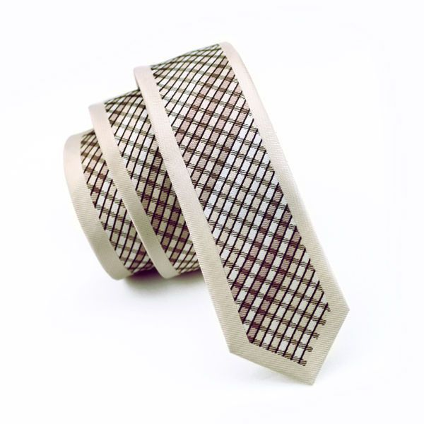 Classic Beige Check Skinny Tie Slim Neckwear Casual tie 100% Silk Casual Classic For Wedding Party Business