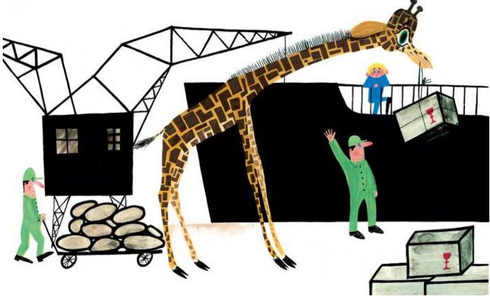 Stanisław Wygodzki, A Giraffe Came to Visit Me / Odwiedziła mnie żyrafa, illustrated by Mirosław Pokora, photo: Dwie siostry publishing house