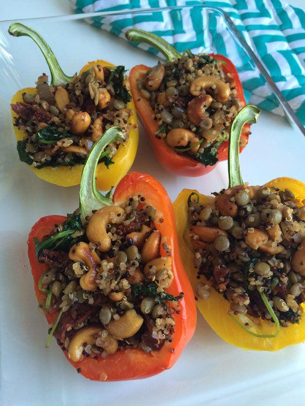 Gevulde paprika's met linzen en quinoa