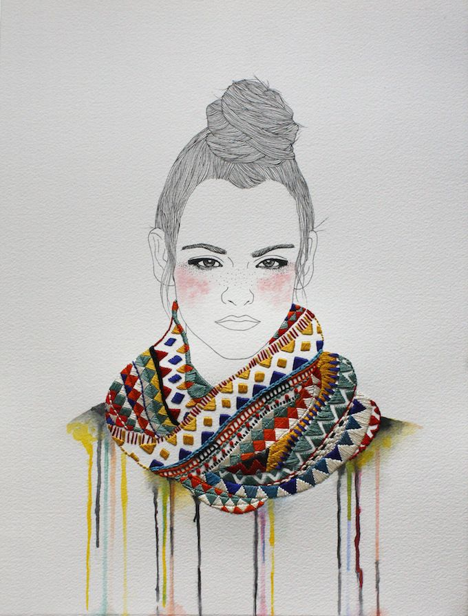 Illustrator Izziyana Suhaimi combines drawing and thread in her series of portraits called Friends to keep you warm. Women wear brilliant scarves and hats!