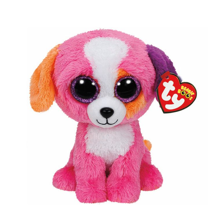 """<P>Woof is mostly what I say, and at the park is where I play!</P><P>Austin is a cute pink dog with orange and purple ears and big glittery purple eyes. Part of the Ty Beanie Boos collection. Collect them all!</P><UL><LI><B>Claire's Exclusive</B><LI>Birthday: May 30th<LI>6""""H<LI>Plush</LI></UL>"""