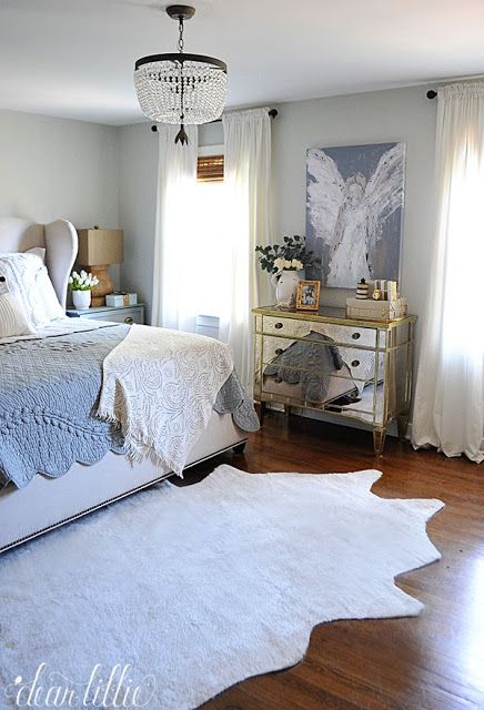 Exceptional Adding This Light Colored Faux Cowhide Rug To Our Pale Blue And Cream  Bedroom Helped Lighten