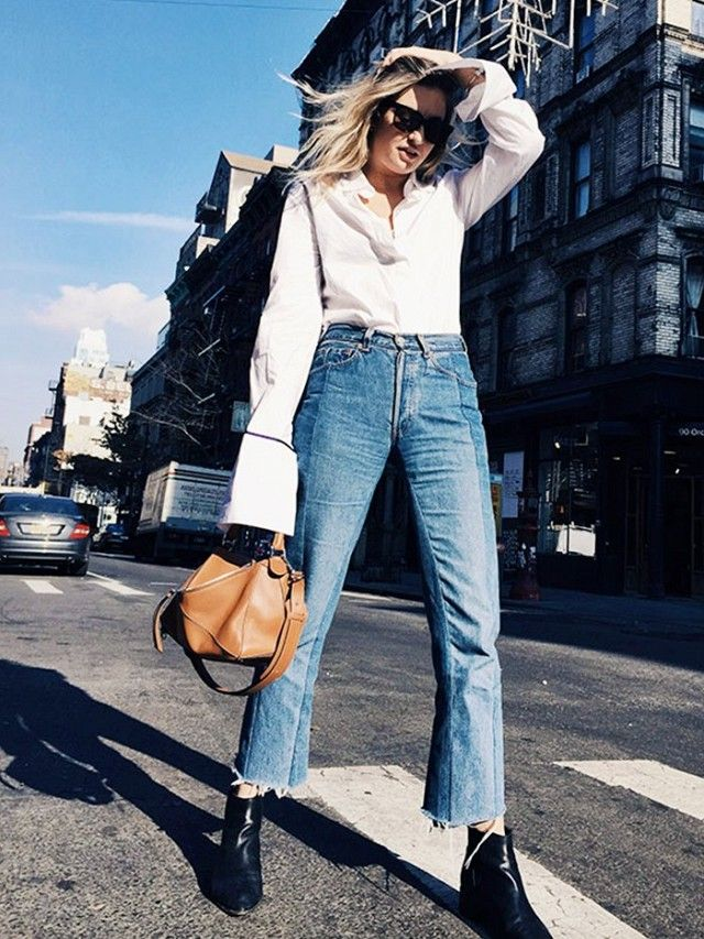 On Camille Charrière: Anna Quan shirt; Vetements Cropped Washed Cotton Denim Jeans (£790); Loewe Puzzle Bag (£2,138); Acne boots.