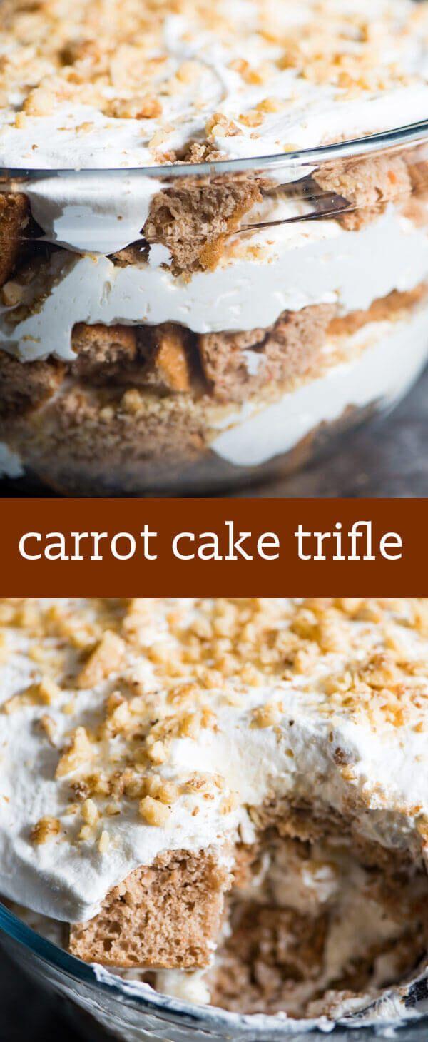 carrot cake trifle / cream cheese filling / easy dessert recipe / easy easter dessert / trifle recipe / carrot cake cheesecake flavor  via @tastesoflizzyt