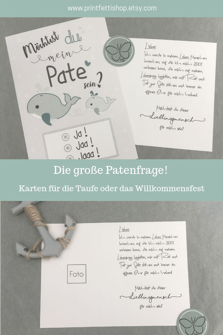 Willst  du mein Pate sein? Kartenset für die Taufe / das Willkommensfest: Paten… – Printfetti