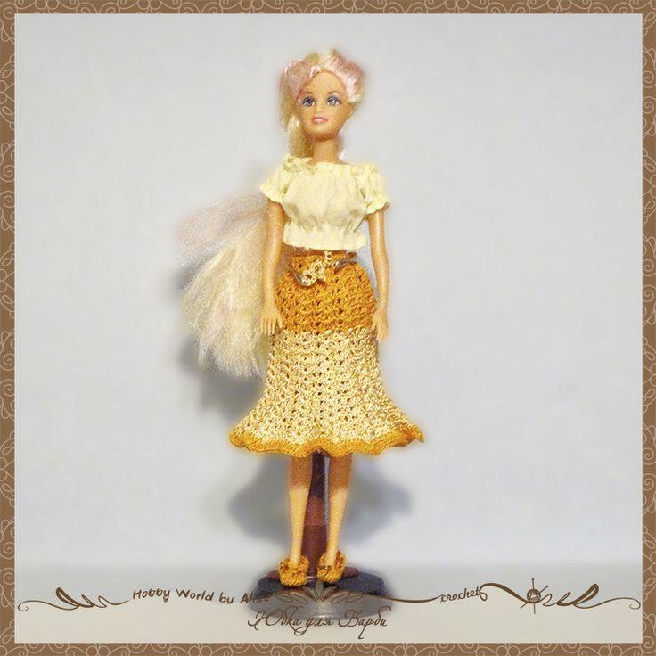 #кукла #юбка #вязание #крючком #барби Юбка для Барби Дата проекта:2006 г. Техника:вязание крючком Материалы:пряжа для вязания цвет:беж, желтый Источник описания модели:интернет