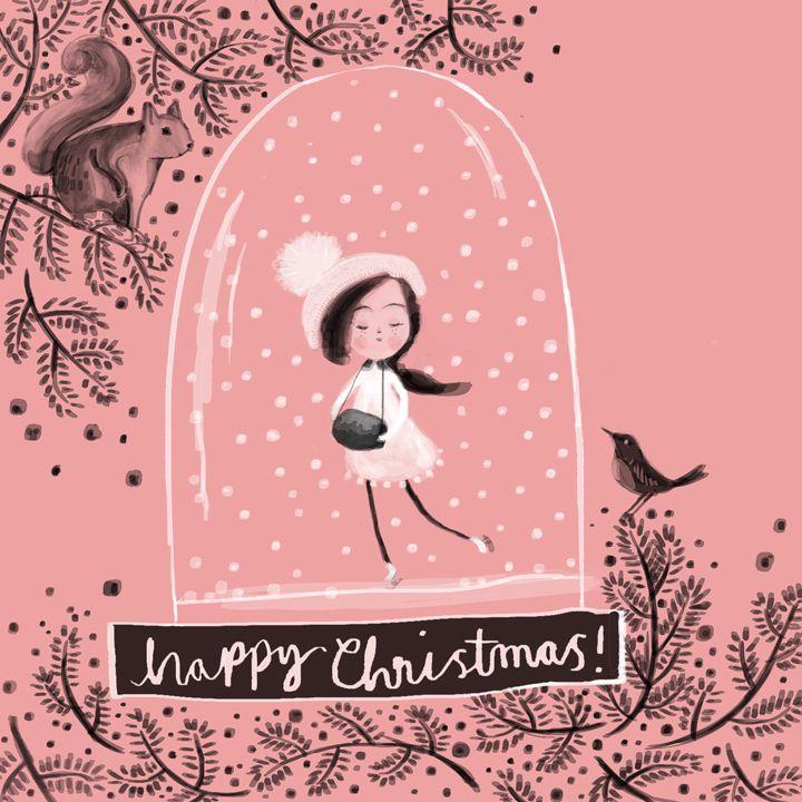 #wip #Christmas card design #skating in a #snow globe #squirrel #robin #illustration