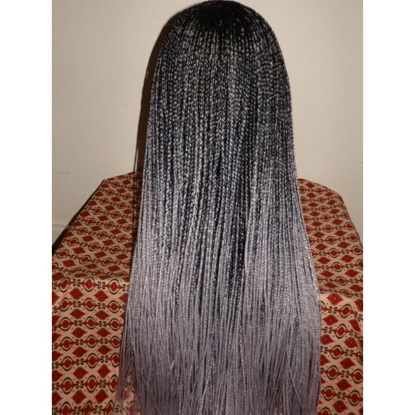 Handmade OMBRE Box Braid WHOLE LACE Wig Black Silver Grey