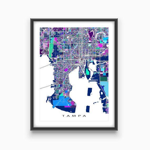 Tampa Map Print / Tampa Florida City Map Art / Street by MapsAsArt