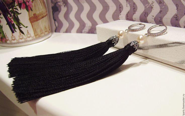Купить Серьги кисти черные - черный, серьги, сережки, кисти, кисточки, серьги кисточки