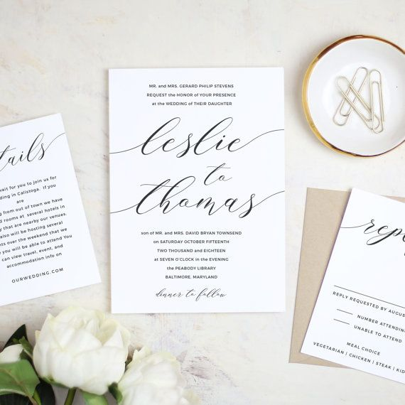 Printable Modern Calligraphy Wedding Invitation Template Vintage By  SwellAndGrand