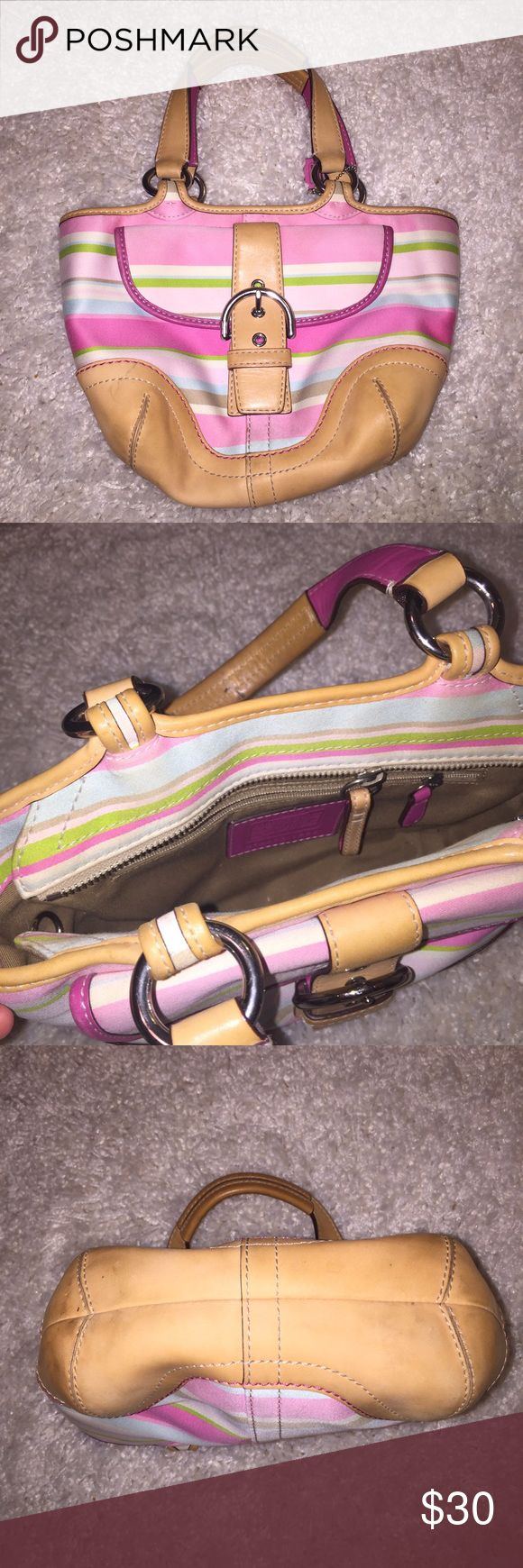 Coach Satchel Coach Satchel in good condition. It has some wear and tear but is a great price and is super fun colors for the spring and summertime!😊 Coach Bags Satchels