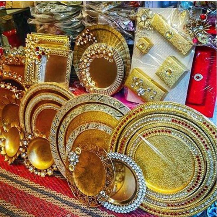 Trays for trousseau packing - put some bling on it done by @Wrapitup | #Indianweddings #gift #trousseau #ideas | Curated by #WittyVows - The ultimate guide for the Indian Bride | www.wittyvows.com