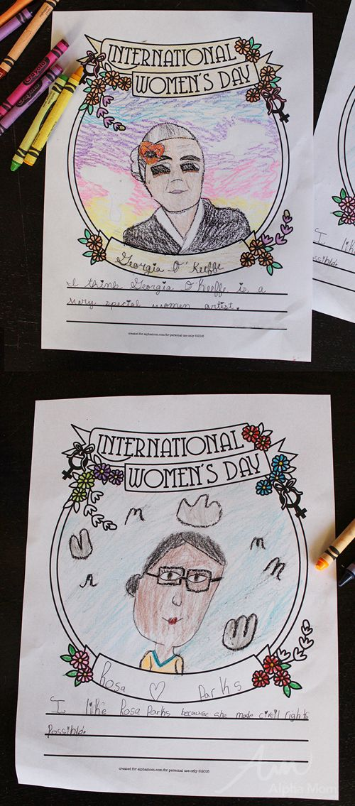 International Women's Day Craft: Famous Women Drawing & Coloring Activity by Brenda Ponnay for Alphamom.com