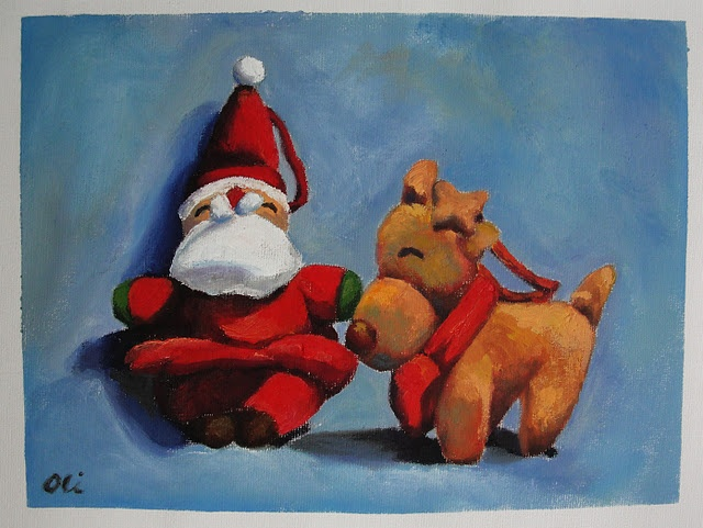 [Late] Christmas painting (oil painting class practice)