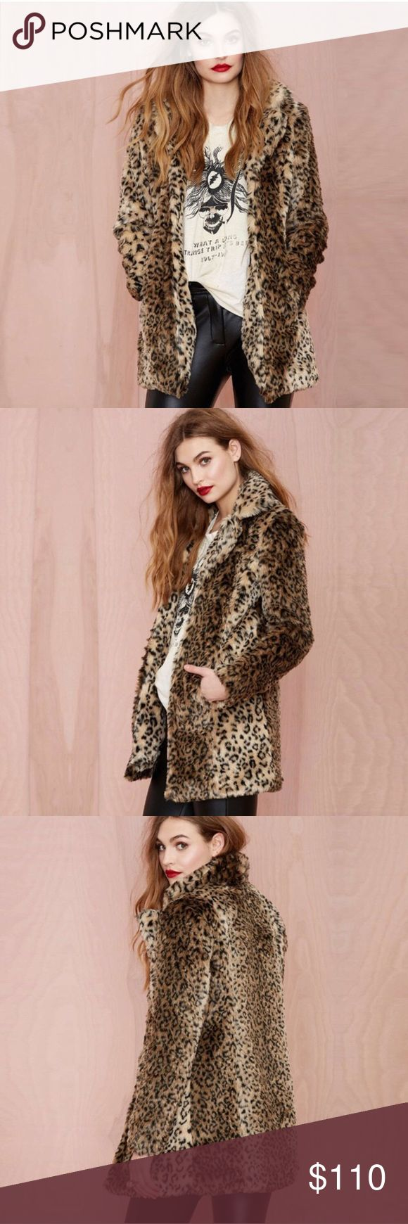 "Nasty Gal Cat Skills Coat ""This is the only time we'll ever tell you to get catty. This faux fur coat has a leopard print, open front, and pockets at waist. Fully lined. Throw it on over a black bodycon dress and moto boots or wear it with boyfriend jeans and a structured top. By Nasty Gal."" As seen on Emma Roberts**   Measurements:  Length from shoulder to end 30"" pit to pit 18.5"" Arm Length from shoulder 25 (Size Medium)  Length from shoulder to end 31"" pit to pit 19.5"" Arm Length from…"