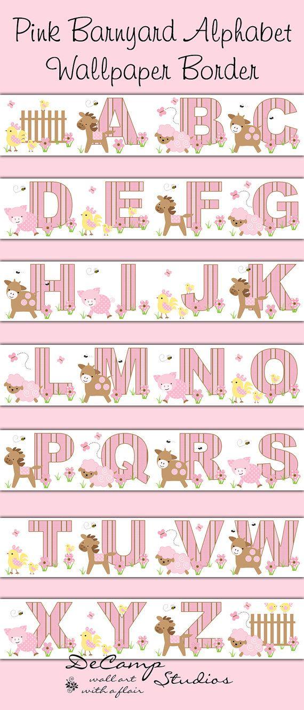 Pink Barnyard Alphabet Wallpaper Border Decals Baby Girl