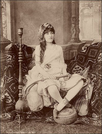 Inside the hareem - a portrait from the 1850s by H. Arnoux.