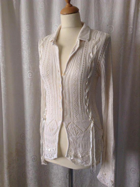 Contempo Casuals Sweater cream knit button down collar