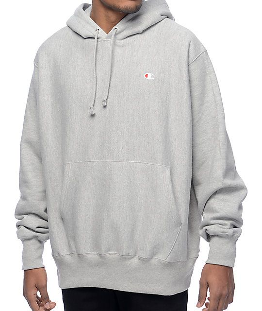 Amp up your wardrobe with the heavy duty styling of the Reverse Weave heather grey hoodie from Champion. This larger cut hoodie has a thick fleece construction cut cross weave to prevent shrinkage and durable reinforced seams for a long lasting wear.