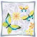Butterflies and Flowers - Kruissteekkussen - Vervaco