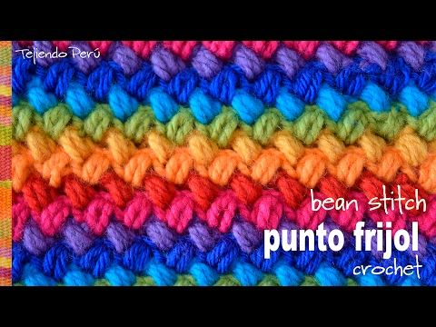 Punto frijol tejido a crochet: bello y reversible! (bean stitch) - YouTube