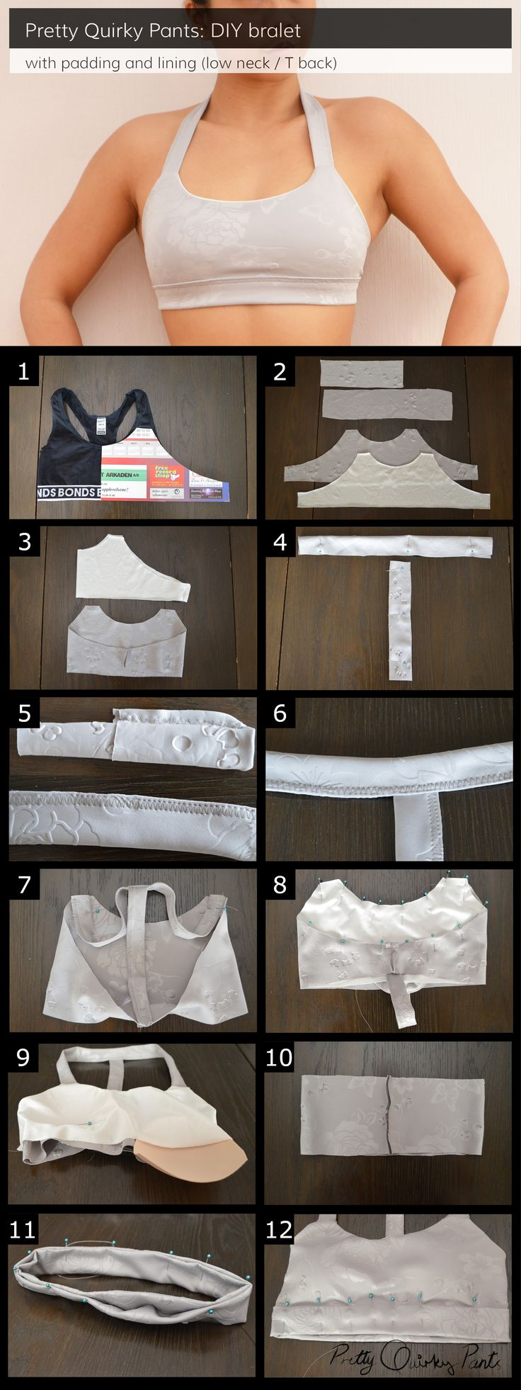 DIY T-Back Bralet Tutorial Make a lined and padded sports bra.