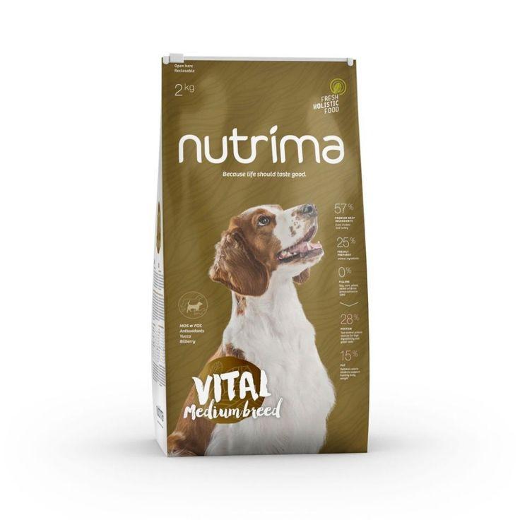 Nutrima Vital Medium Breed -koiranruoka keskikokoisten aikuisten ja ikääntyvien koirien ravitsemustarpeisiin.