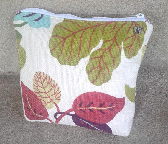 Leaf  Pouch 9 w by 8 t by 2 d  Leaf Zipper Bag bag pouch