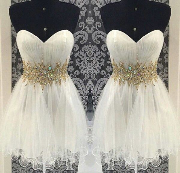 2016 Custom White Homecoming dresses, Beaded Prom dresses, Sweetheart Party dresses, sexy Cocktail dresses,Mini Party dresses