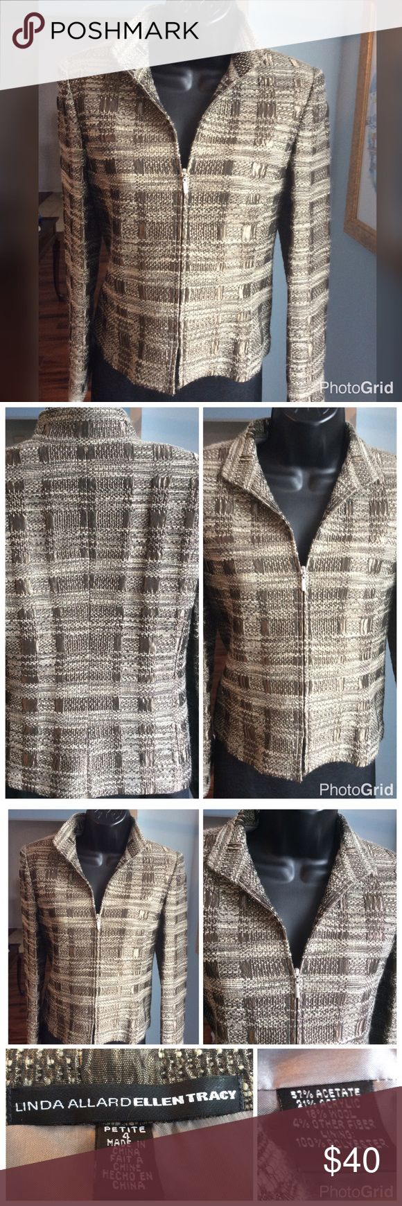 """Linda Allard Ellen Tracy Petite Jacket Beautiful lined zip up jacket. Excellent condition. Shades of brown throughout. Measures 18"""" across the chest and 20"""" long. Ellen Tracy Jackets & Coats Blazers"""