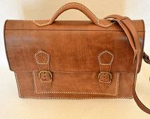 """Brown Leather Messenger Bag, Handmade Leather Briefcase 15"""", Rustic Briefcase, Handmade Cross-body Bag, Urban Fashion, Men's Leather Bag"""