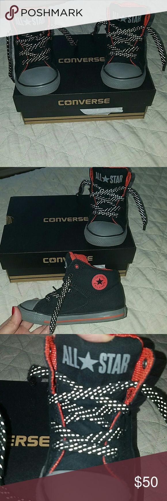 Converse Black High Tops, Gray/Orange Trim Adorable and durable black high tops by Converse.  Gray rubber sole and detailing.  Bright orange interior and Converse logo on side.  Black laces are speckled with gray - they look really cool!  These sneakers are water repellant, so they're great for the Winter.    Darn my son for growing so fast, he never gets a chance to use half the stuff he grows out of!!  Maybe I shop too much.....? NAAAAAAAH!!  😆  Brand new in box, just trying to make back…
