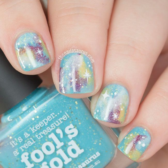 Turquoise Glittery Galaxy Nails | The Nailasaurus | UK Nail Art Blog