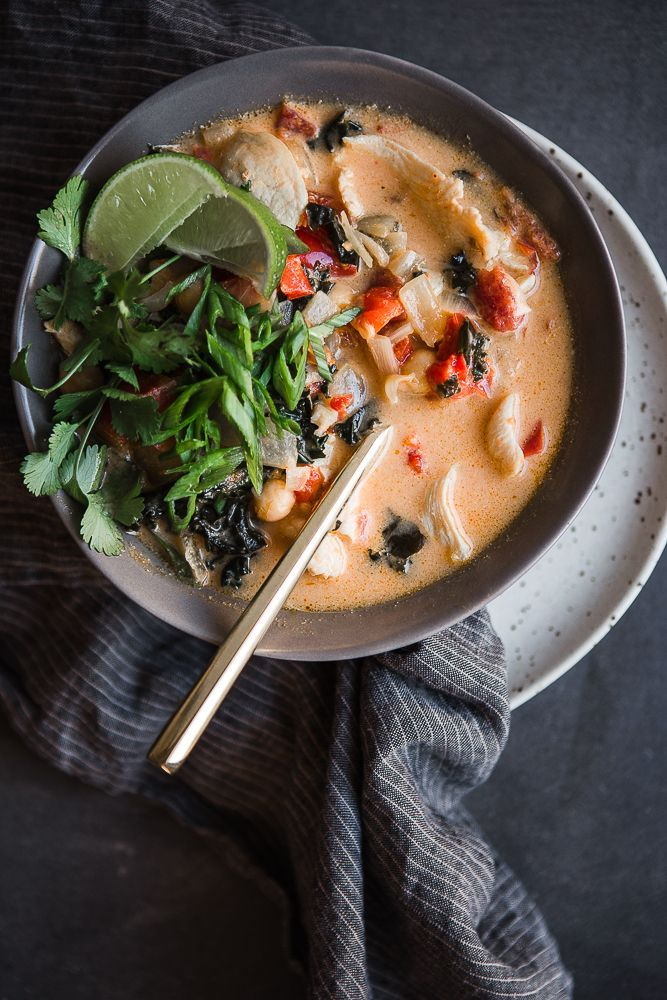 Coconut Curry Soup with Chicken, Chickpeas and Hearty Greens | The Modern Proper