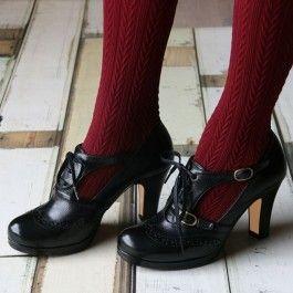 Black Vintage Heels Mary Jane Pumps T Strap Block Heels by FSJ