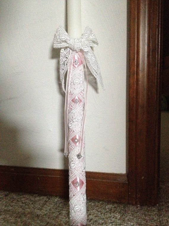 Pink lace orthodox baptism candle on Etsy, $99.00