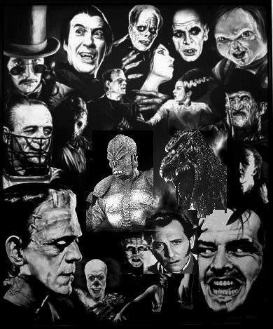 a great collage of favourite horror movie characters put together by heidi a furlong
