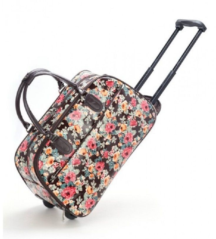 Brown Flower Print Weekend Travel Luggage Bug - The Handbag Hut - £30 and free delivery