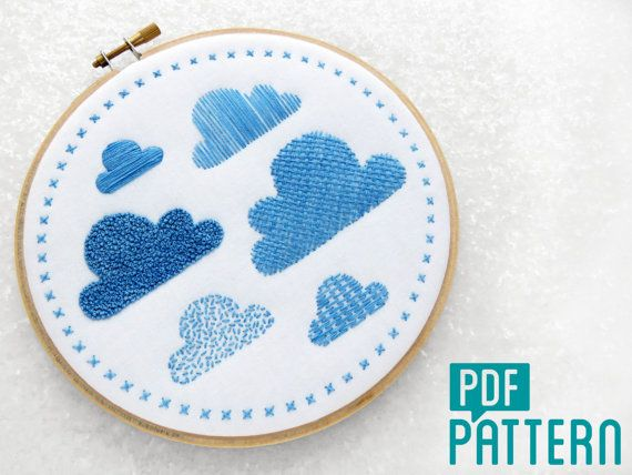 Clouds Embroidery Sampler Pattern, Needlework Sampler Kit, Hoop Art Pattern PDF, DIY Wall Art, Hand Embroidery Tutorial, Relaxing Crafts.