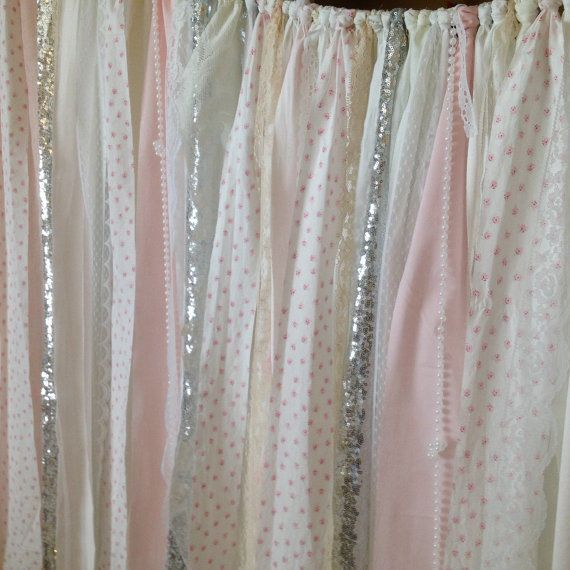 Shabby Chic Curtains Vintage Rachel Ashwell Fabric Ribbon And Sequin Backdrop Pink White Ivory Sparkle Silver Rag Garland Lace Curtain