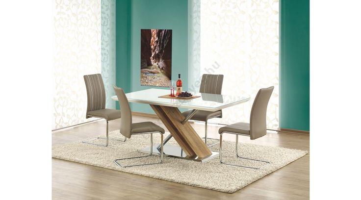NEXUS - egy nagyon szép, elegáns étkezőasztal. Az étkezőasztal mérete: 160/90/76 cm. Az asztal a fotón K193 székekkel látható, melyek nem tartoznak az asztalhoz, de webshopunkban külön megrendelhetők. Ez a modell az itt látható kivitelben