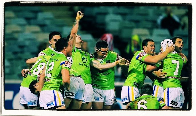 """MORE GREAT CANBERRA RAIDERS MOMENTS: """"Do you believe in hoodoos? Do you believe in miracles?"""", 2011 In Round 20 2011, the Raiders hoodoo continued over the Dragons, with an incredible last minute try to Josh Dugan to win the match. After leading 18-6 at half time, the Dragons thought they'd sealed it 19-18, with a Jamie Soward field goal in the dying minutes. But with just seconds remaining, a short kick off gave the Raiders another chance and they took it. Final score: Raiders 24 Dragons…"""