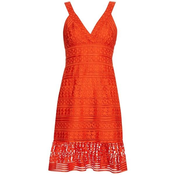 Diane Von Furstenberg Tiana dress ($598) ❤ liked on Polyvore featuring dresses, orange, slimming dresses, flower dress, red v neck dress, red dress and lace ruffle dress