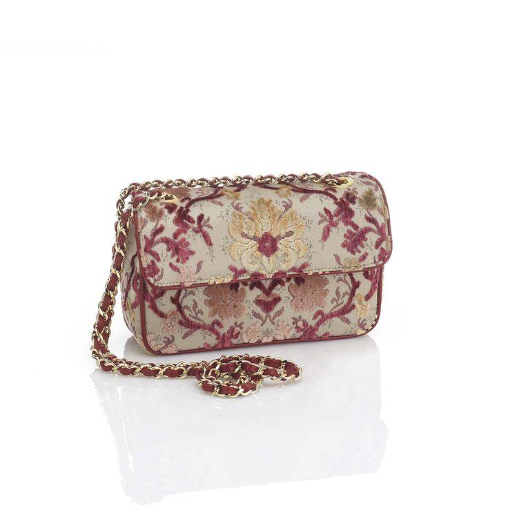 "CAORLINA handbag, made of ""Giardinetto"" silk velvet. Leather lining and zippered pocket inside. Adjustable shoulder strap. Design and concept @ Chiara Pizzinato Atelier"