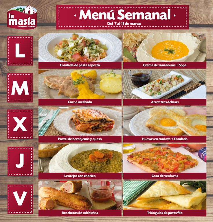 Menu semanal de comidas related keywords menu semanal de for Menu comida