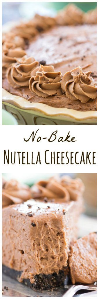 This quick and easy No-Bake Nutella Cheesecake Recipe features a chocolate cookie crust, enhanced by the addition of hazelnuts, and a seriously hefty layer of silky, creamy, no-bake Nutella cheesecake.