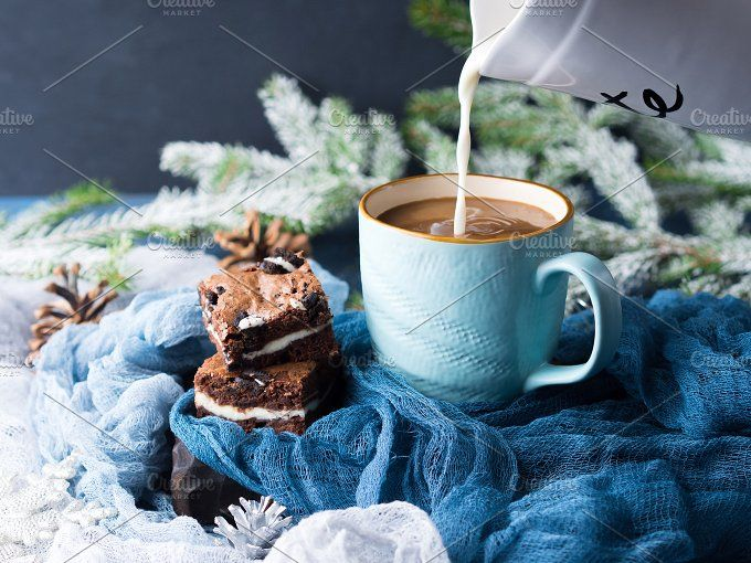 Cream cheese brownies and coffee with milk by Life Morning Photography on @creativemarket